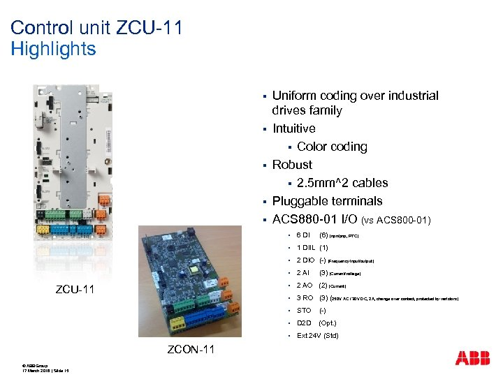 Control unit ZCU-11 Highlights § § § Uniform coding over industrial drives family Intuitive
