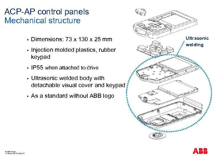 ACP-AP control panels Mechanical structure § § Injection molded plastics, rubber keypad § IP