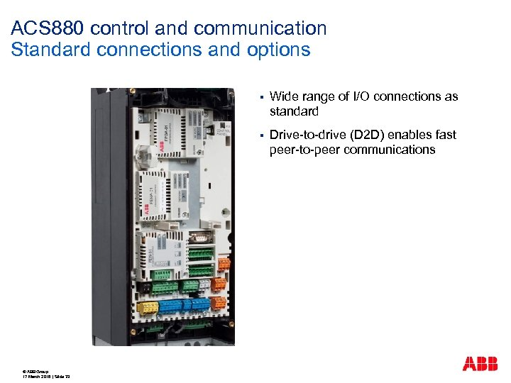 ACS 880 control and communication Standard connections and options § § © ABB Group