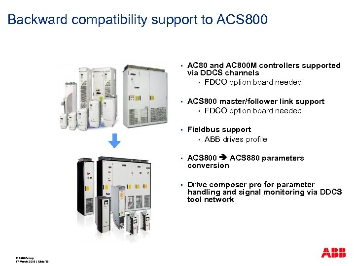 Backward compatibility support to ACS 800 § § ACS 800 master/follower link support §