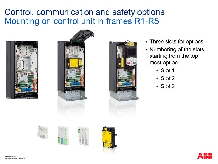 Control, communication and safety options Mounting on control unit in frames R 1 -R