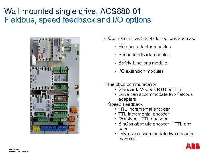 Wall-mounted single drive, ACS 880 -01 Fieldbus, speed feedback and I/O options § Control
