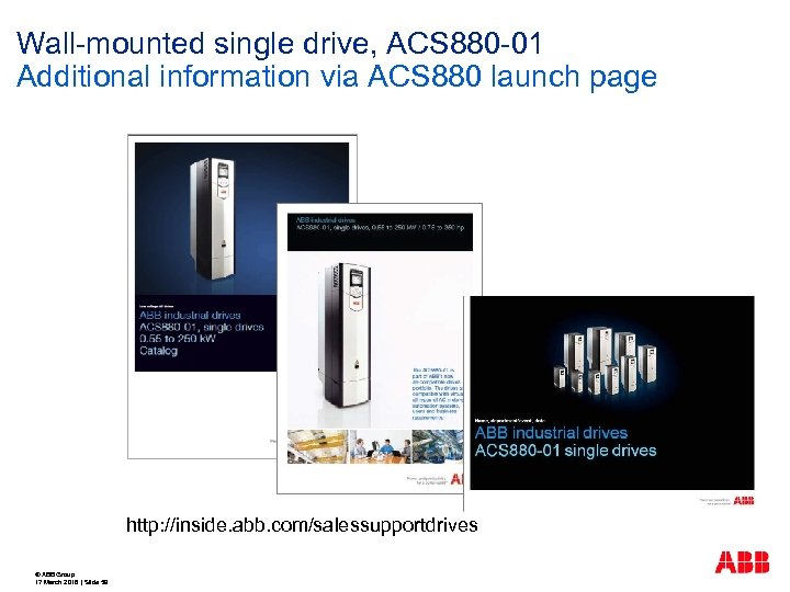 Wall-mounted single drive, ACS 880 -01 Additional information via ACS 880 launch page http: