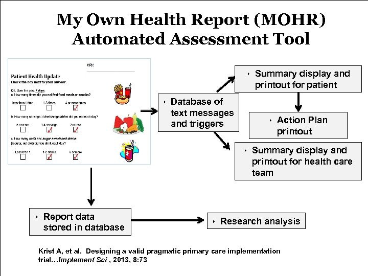My Own Health Report (MOHR) Automated Assessment Tool ‣ Summary display and printout for