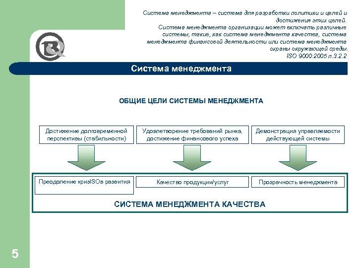 Система менеджмента – система для разработки политики и целей и достижения этих целей. Система