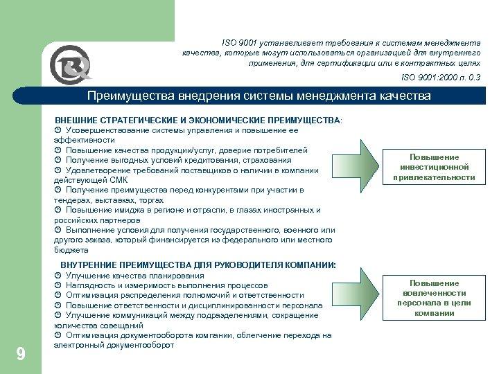 ISO 9001 устанавливает требования к системам менеджмента качества, которые могут использоваться организацией для внутреннего