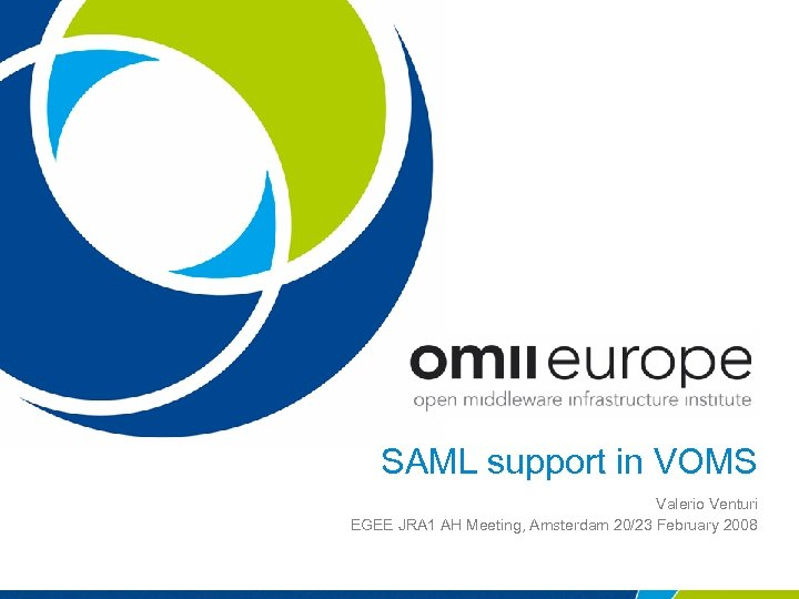 SAML support in VOMS Valerio Venturi EGEE JRA 1 AH Meeting, Amsterdam 20/23 February