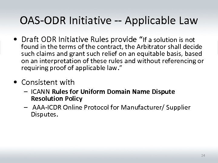 "OAS-ODR Initiative -- Applicable Law • Draft ODR Initiative Rules provide ""If a solution"