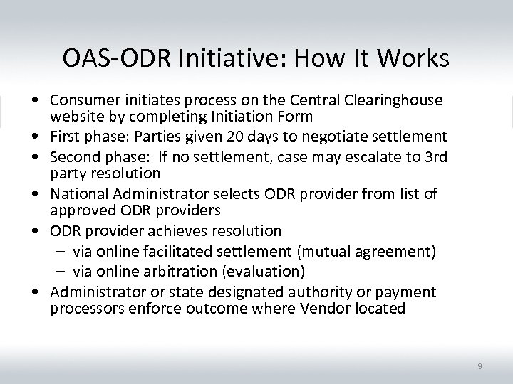 OAS-ODR Initiative: How It Works • Consumer initiates process on the Central Clearinghouse website