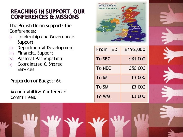 REACHING IN SUPPORT, OUR CONFERENCES & MISSIONS The British Union supports the Conferences: i)