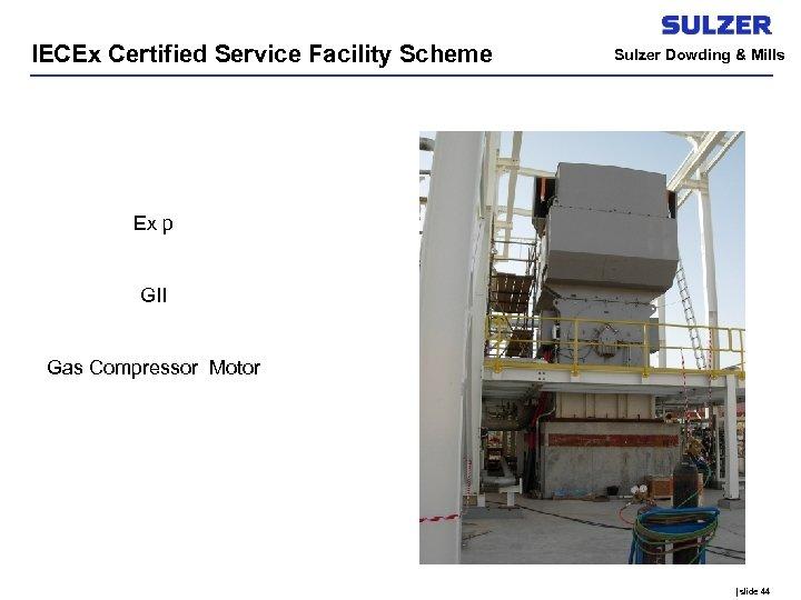 IECEx Certified Service Facility Scheme Sulzer Dowding & Mills Ex p GII Gas Compressor