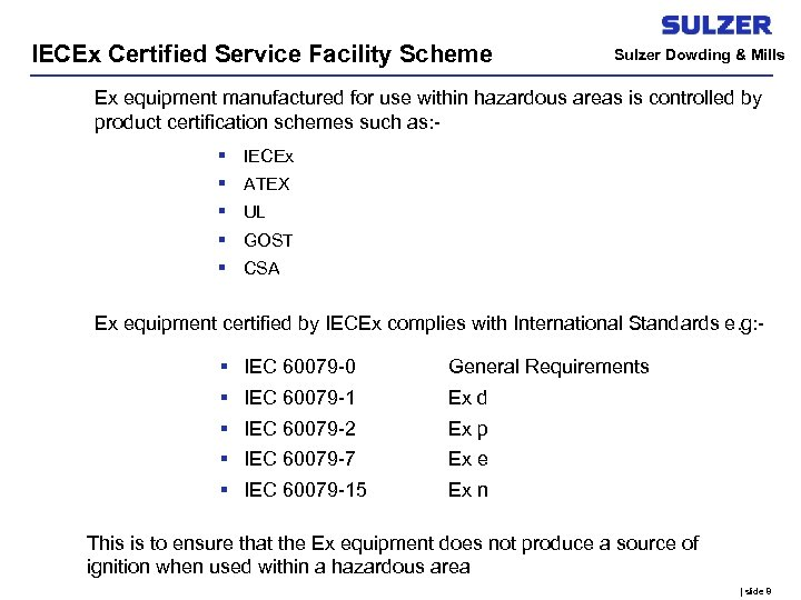 IECEx Certified Service Facility Scheme Sulzer Dowding & Mills Ex equipment manufactured for use