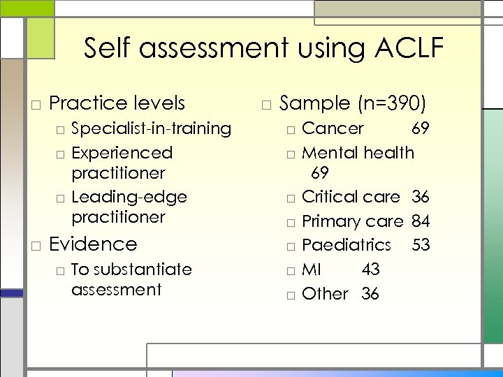 Self assessment using ACLF □ Practice levels □ Specialist-in-training □ Experienced practitioner □ Leading-edge