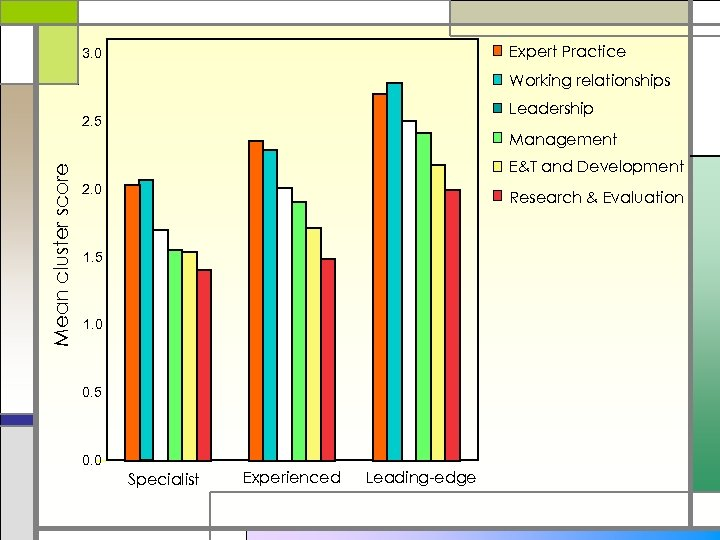 Expert Practice 3. 0 Working relationships Leadership 2. 5 Mean cluster score Management E&T