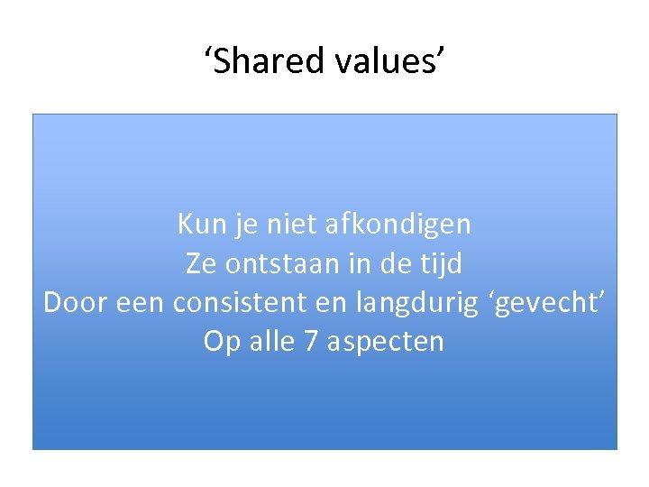 'Shared values' • Over de zorg. BIJVOORBEELD: – Ontstaat in de relatie tussen professionals,