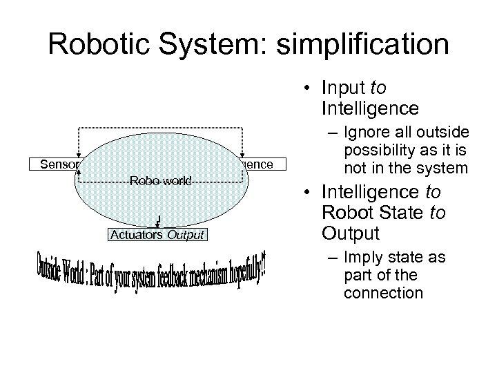 Robotic System: simplification • Input to Intelligence Sensors Input Intelligence Robo world Robot HW/SW