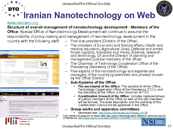 Unclassified//For Official Use Only Iranian Nanotechnology on Web www. irannano. org Structure of overall-management