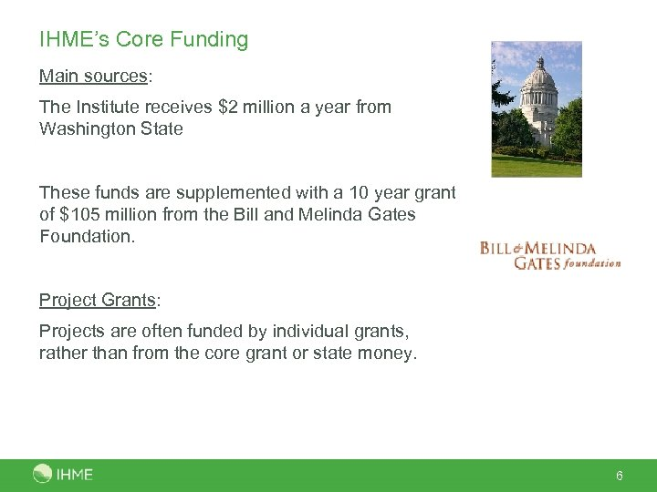 IHME's Core Funding Main sources: The Institute receives $2 million a year from Washington