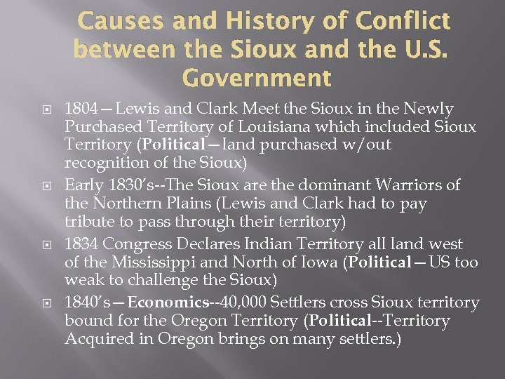 Causes and History of Conflict between the Sioux and the U. S. Government 1804—Lewis
