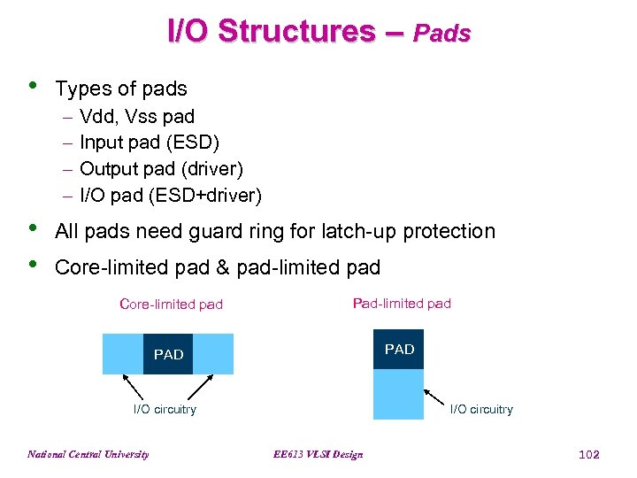 I/O Structures – Pads • Types of pads - • • Vdd, Vss pad