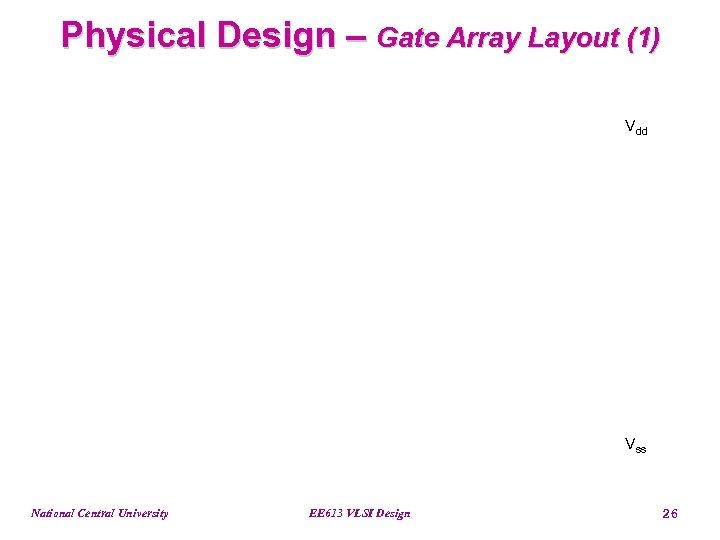 Physical Design – Gate Array Layout (1) Vdd Vss National Central University EE 613