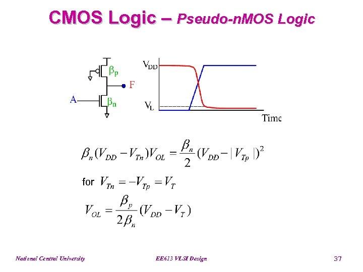 CMOS Logic – Pseudo-n. MOS Logic for National Central University EE 613 VLSI Design