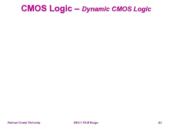 CMOS Logic – Dynamic CMOS Logic National Central University EE 613 VLSI Design 40
