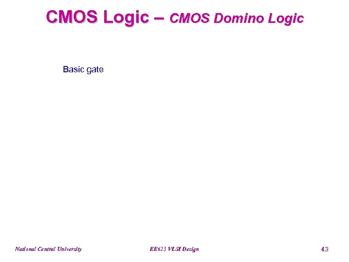 CMOS Logic – CMOS Domino Logic Basic gate National Central University EE 613 VLSI
