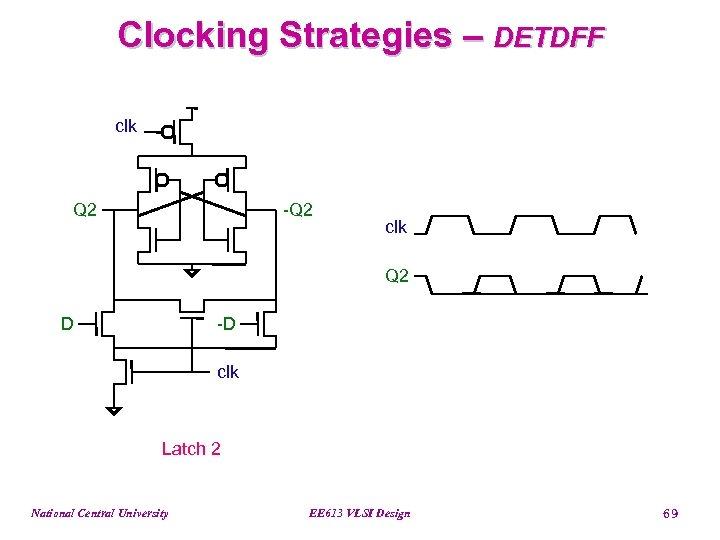 Clocking Strategies – DETDFF clk Q 2 -Q 2 clk Q 2 D -D