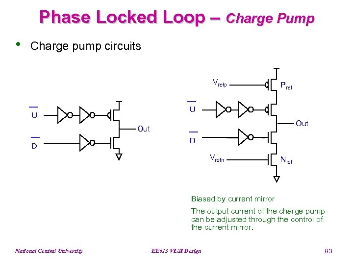 Phase Locked Loop – Charge Pump • Charge pump circuits Vrefp Pref U U