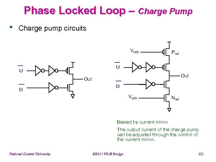 Phase Locked Loop – Charge Pump • Charge pump circuits Vrefp Pref U U
