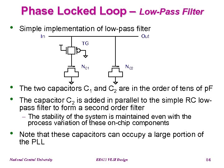 Phase Locked Loop – Low-Pass Filter • Simplementation of low-pass filter In Out TG