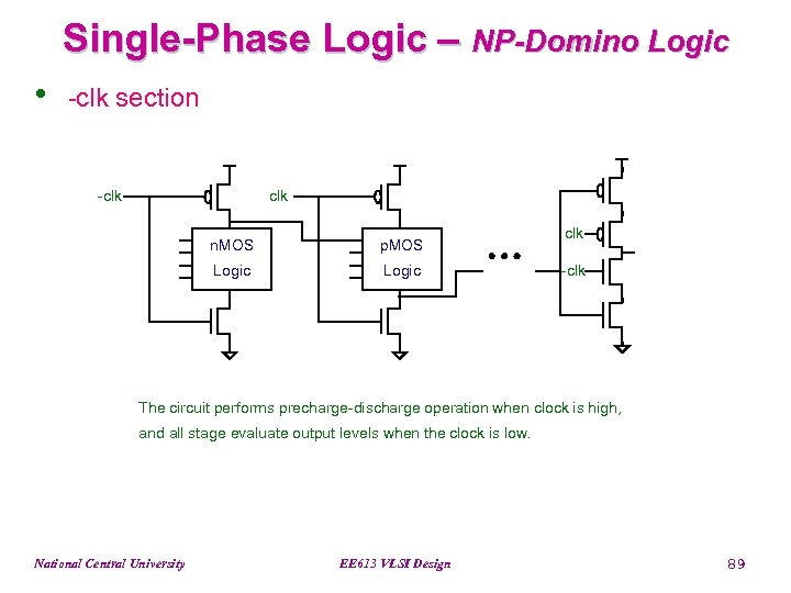 Single-Phase Logic – NP-Domino Logic • -clk section -clk n. MOS p. MOS Logic
