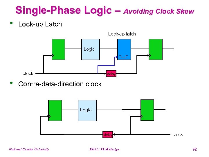 Single-Phase Logic – Avoiding Clock Skew • Lock-up Latch Lock-up latch Logic clock •