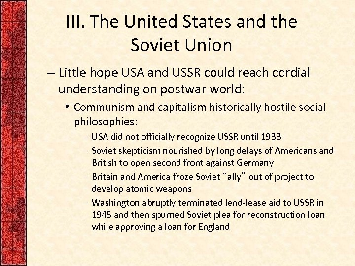 the long standing rivalry of the united states and soviet union A series of meetings between the soviet union and the united states, took place between 1969 and 1979 in an attempt to limit the production and distribution of nuclear weapons.