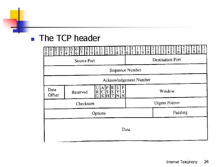 n The TCP header Internet Telephony 24