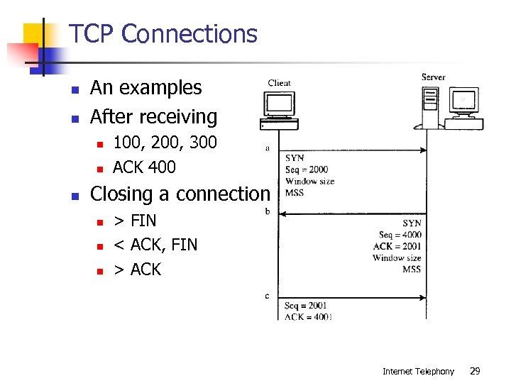 TCP Connections n n An examples After receiving n n n 100, 200, 300
