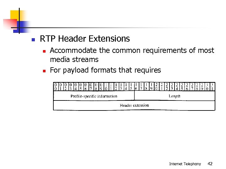n RTP Header Extensions n n Accommodate the common requirements of most media streams