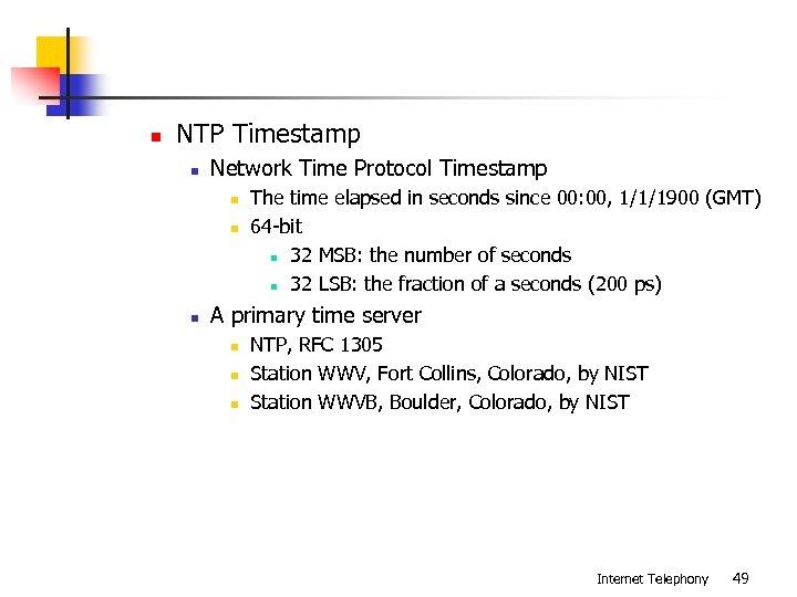 n NTP Timestamp n Network Time Protocol Timestamp n n n The time elapsed