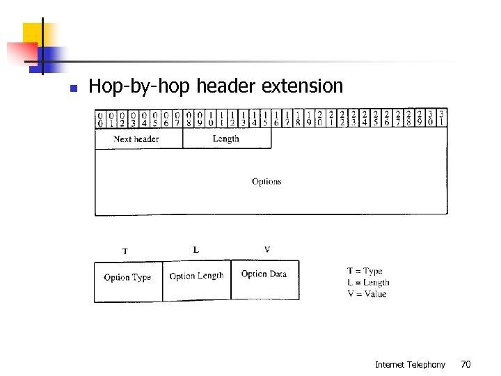 n Hop-by-hop header extension Internet Telephony 70
