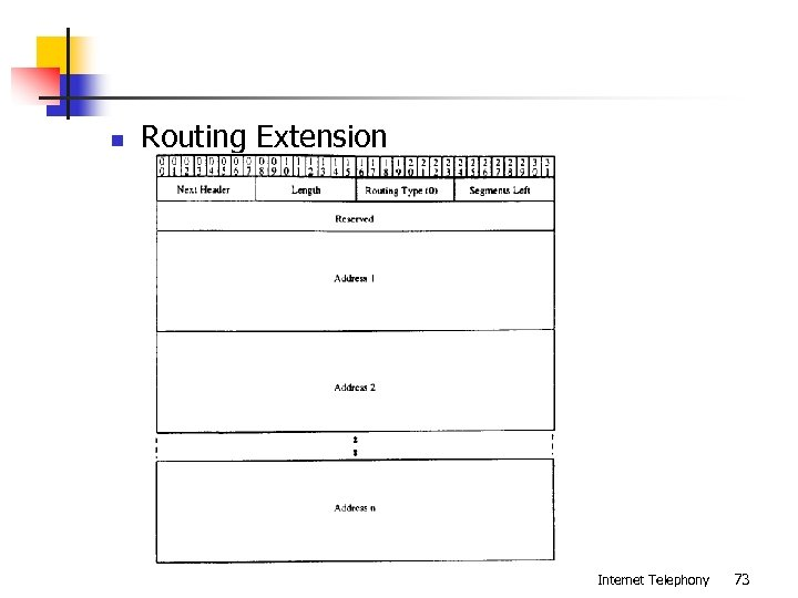 n Routing Extension Internet Telephony 73