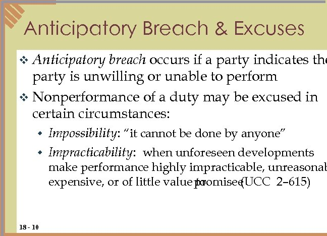 Anticipatory Breach & Excuses breach occurs if a party indicates the party is unwilling