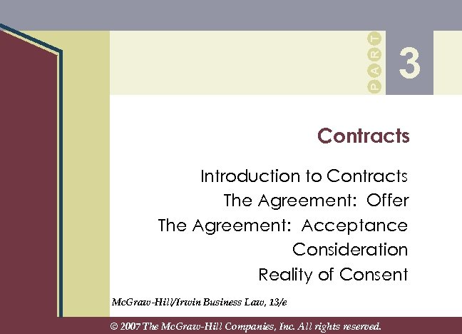 P A R T 3 Contracts Introduction to Contracts The Agreement: Offer The Agreement: