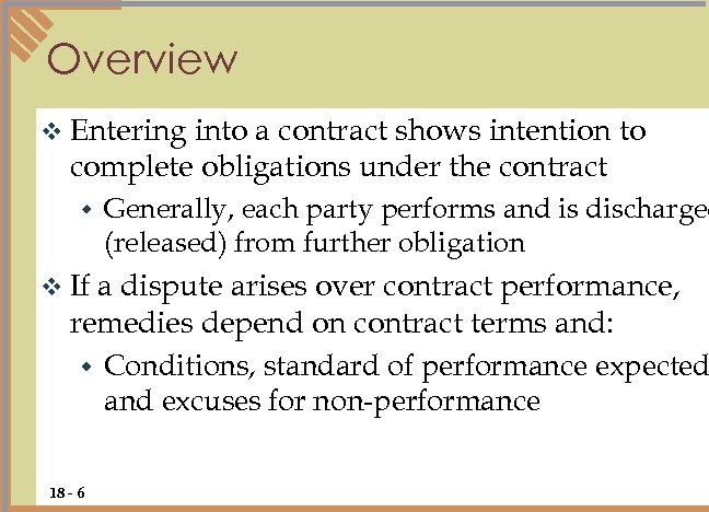 Overview v Entering into a contract shows intention to complete obligations under the contract