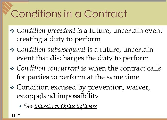 Conditions in a Contract precedent is a future, uncertain event creating a duty to