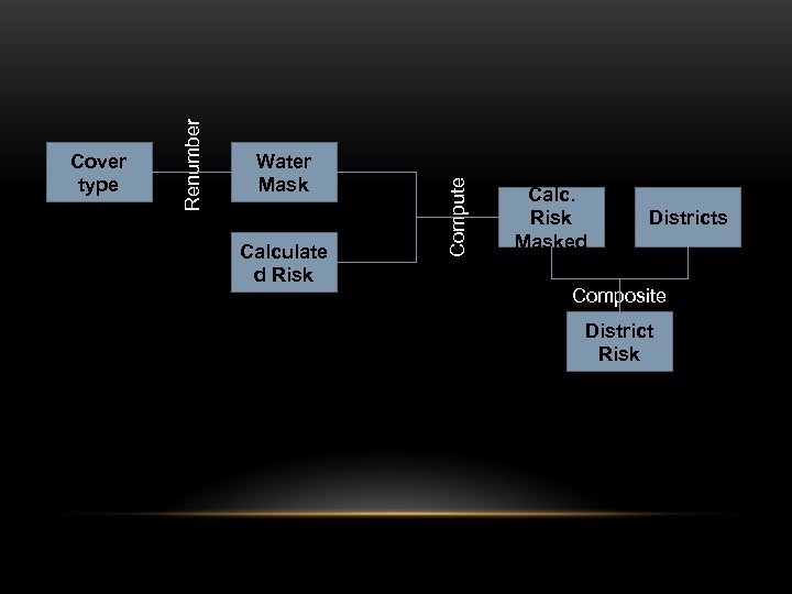 Water Mask Calculate d Risk Compute Renumber Cover type Calc. Risk Masked Districts Composite