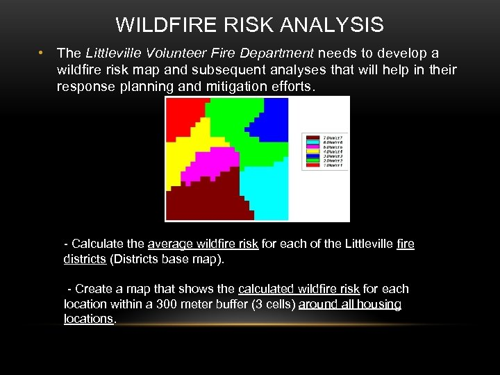 WILDFIRE RISK ANALYSIS • The Littleville Volunteer Fire Department needs to develop a wildfire