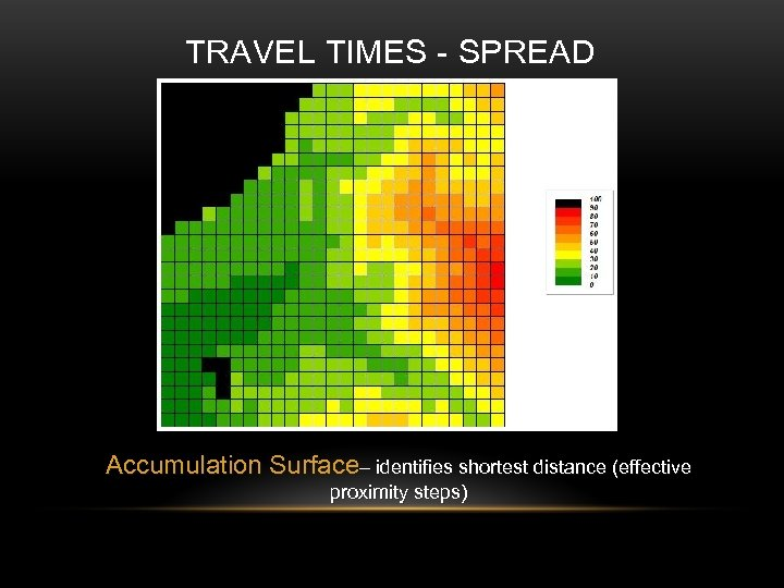 TRAVEL TIMES - SPREAD Accumulation Surface– identifies shortest distance (effective proximity steps)