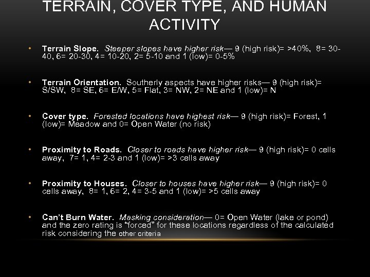 TERRAIN, COVER TYPE, AND HUMAN ACTIVITY • Terrain Slope. Steeper slopes have higher risk—