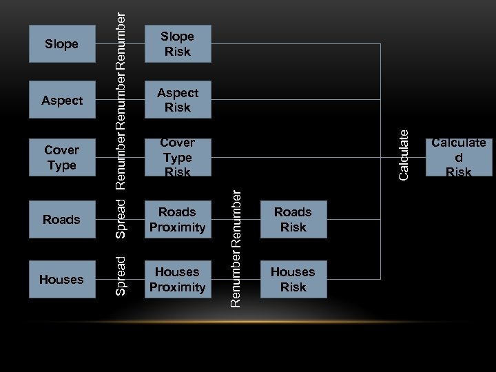 Roads Houses Roads Proximity Houses Proximity Slope Risk Calculate Aspect Risk Cover Type Risk